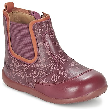 Shoes Girl Mid boots Kickers BIGOR Bordeaux / Orange