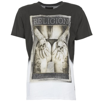 Clothing Men short-sleeved t-shirts Religion GRABBING White / Black