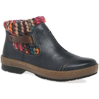 Shoes Women Mid boots Rieker Rambler Womens Knit Panel Ankle Boots blue