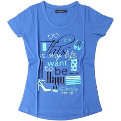 Clothing Women short-sleeved t-shirts Key Up S19I 0001 T-shirt Women Blue Blue