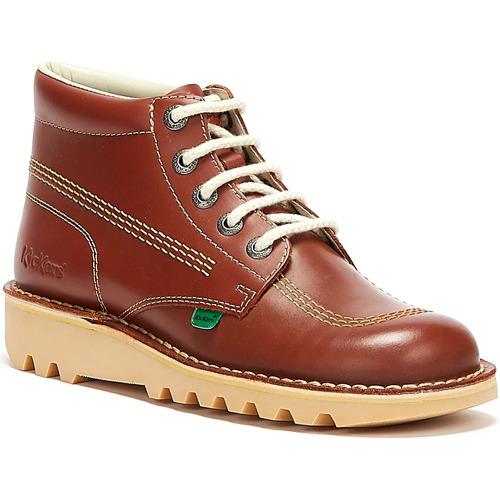 Shoes Men Mid boots Kickers Mens Tan Kick Hi Leather Boots Tan