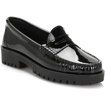 Shoes Women Loafers Tower Womens Black Patent Leather Loafers Black
