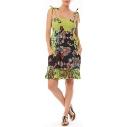Clothing Women Short Dresses By La Vitrine Robe Bretelle Kolossi imprimée Fleurs Green