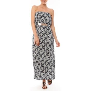 Clothing Women Long Dresses Dress Code Robe Longue 9597 Bleu imprimée fleurs Blue