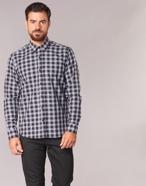 Clothing Men Long-sleeved shirts Yurban FLENOTE Black / White