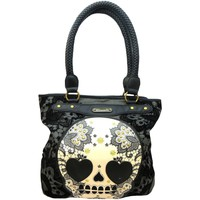 Bags Women Handbags Loungefly Lacey women's black floral skull print Flocked canvas tote bag Black