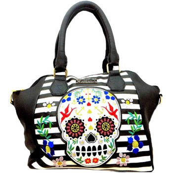 Bags Women Handbags Loungefly Stripe Skull women's black/white nautical two handle shoulder b Black/White