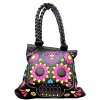 Bags Women Shopping Bags / Baskets Loungefly lacey skull tote women's skull and flower twin strap shopper ba Black