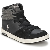Shoes Children Hi top trainers Ralph Lauren TALCOTT HI ZIP Black / Grey