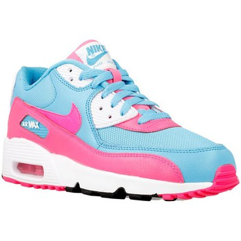 Shoes Girl Low top trainers Nike Air Max 90 Mesh GS Pink-Light blue-White