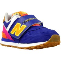 Shoes Boy Low top trainers New Balance KV574 Yellow-Navy blue-Pink