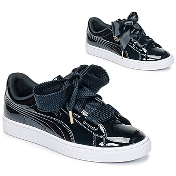 b0256e566a5bed Shoes Women Low top trainers Puma BASKET HEART PATENT WN S Black   Patent