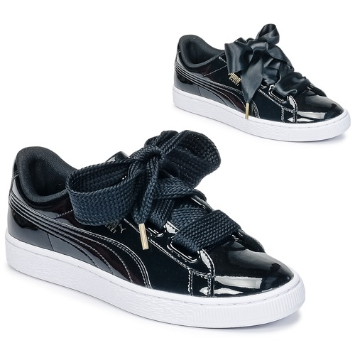 66f586d2207 Shoes Women Low top trainers Puma BASKET HEART PATENT WN S Black   Patent