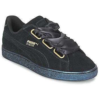 0b2dc351f02 Shoes Women Low top trainers Puma BASKET HEART SATIN WN S Black
