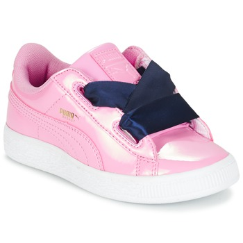 Shoes Girl Low top trainers Puma BASKET HEART PATENT PS Pink / Marine