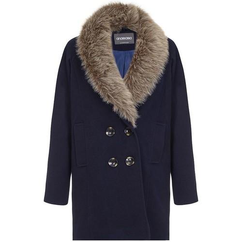 Clothing Women Coats Anastasia - Fur Collar Women Winter Coat Blue