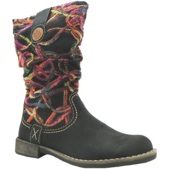 Shoes Women Mid boots Rieker 74663-00 women's black combination wool pattern zip up mid calf black Combination