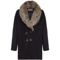 Clothing Women coats Anastasia - Fur Collar Women`s Winter Coat Black
