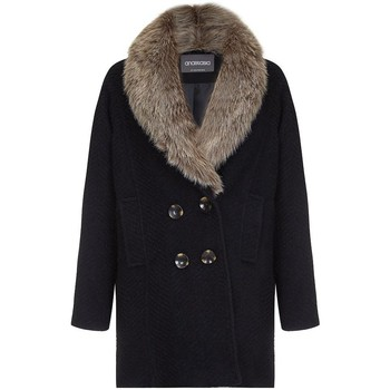 Clothing Women coats Anastasia - Women's Fur Collar Winter Coat Black