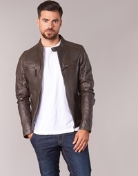 Clothing Men Leather jackets / Imitation leather Oakwood CASEY Brown