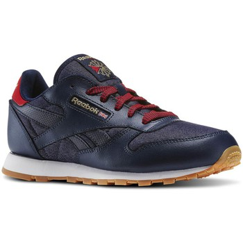 Shoes Boy Low top trainers Reebok Sport Navyredchalkgum CL Leather DG N Red-Navy blue