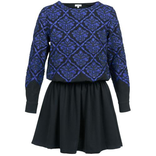 Clothing Women Short Dresses Manoush GIRANDOLINE Black / Blue