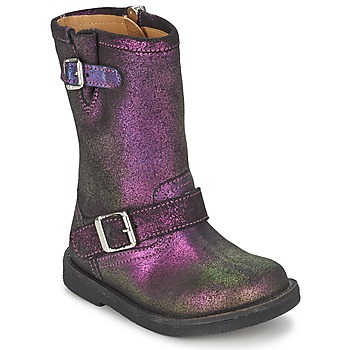 Shoes Girl High boots Pom d'Api HIKE BIKER Purple