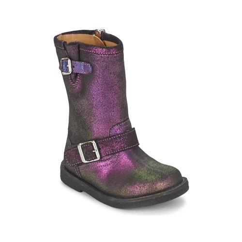 Shoes Girl High boots Pom d'Api HIKE BIKER Purple
