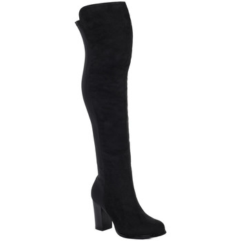 Shoes Women Ankle boots Spylovebuy WILEY Stretch Block Heel Over Knee Tall Boots - Black Suede Sty Black