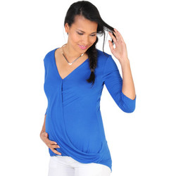 Clothing Women Long sleeved tee-shirts Krisp Twisted Front 3/4 Sleeve Top {Royal Blue} Blue