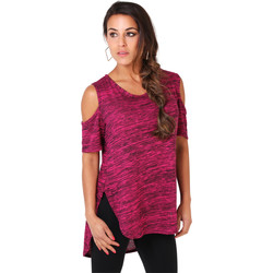 Clothing Women short-sleeved t-shirts Krisp Marl Print Open Shoulder Tunic Top {Cerise} Pink