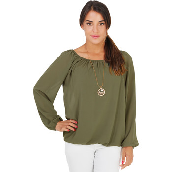 Clothing Women Tops / Blouses Krisp Off-Shoulder Neck Gypsy Blouse {Khaki} Other