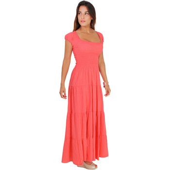Clothing Women Long Dresses Krisp Shirred Gypsy Sundress {Coral} Pink