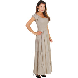 Clothing Women Long Dresses Krisp Shirred Gypsy Sundress {Mocha} Brown
