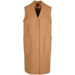 Clothing Women Coats Vero Moda Anastasia - Womens Camel Long Wool Winter Waistcoat Beige
