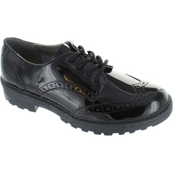 Shoes Girl Derby Shoes Geox j casey g girl's black patent leather lace up wingtip school br Black
