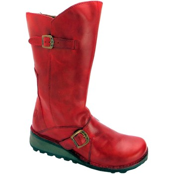 Shoes Women High boots Fly London mes women's matt red nubuck leather mid calf zip up biker boots Red