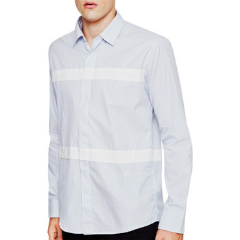 Soulland  Asklund Shirt White   Blue  mens Long sleeved Shirt in white