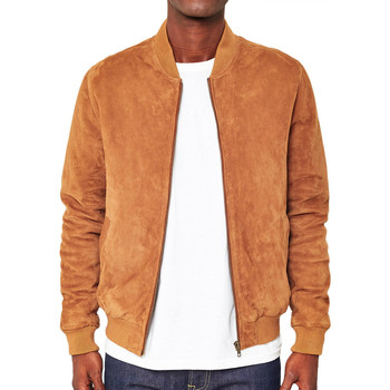 Clothing Men Jackets The Idle Man Suede Bomber Jacket Tan Other
