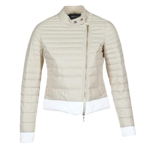Clothing Women Duffel coats Armani jeans BEAUJADO Beige / White