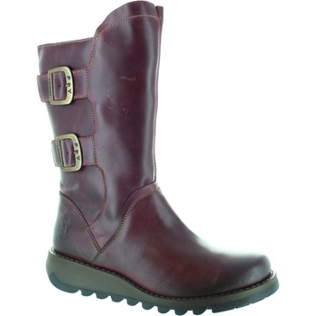Shoes Women High boots Fly London Sack Women's dark purple zip side Leather Mid Calf biker Boots Purple