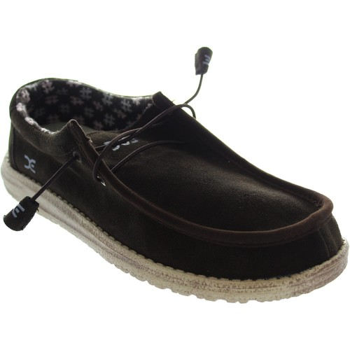 Shoes Men Loafers Hey Dude Wally Suede Chocolate