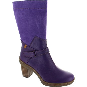 High boots El Naturalista NF75 waterproof purple medium heel mid calf leather boots new