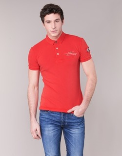 Clothing Men short-sleeved polo shirts Napapijri ELBAS Red