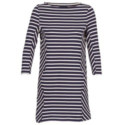 Clothing Women Short Dresses Petit Bateau LESS MARINE / BEIGE