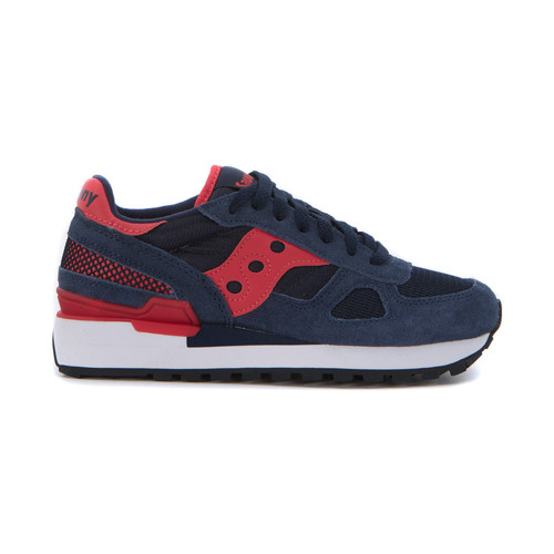 Shoes Women Low top trainers Saucony Sneaker  Shadow in blue suede and net fabric Blue