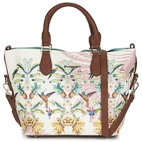 Bags Women Handbags Desigual FLORIDA TROPICALICIOUS ECRU / CAMEL / Multicoloured