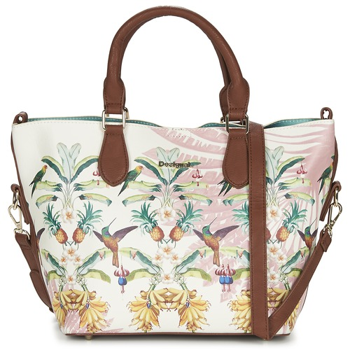 Bags Women Handbags Desigual FLORIDA TROPICALICIOUS Ecru / Camel / Multicoloured