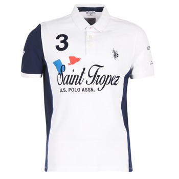 Clothing Men short-sleeved polo shirts U.S Polo Assn. SAINT TROPEZ POLO White
