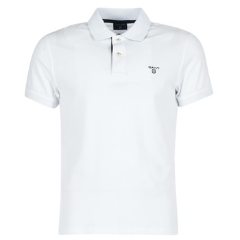 Clothing Men short-sleeved polo shirts Gant CONTRAST COLLAR PIQUE White